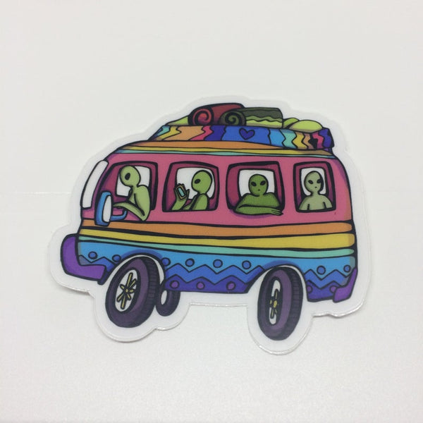 Alien Road Trip | Transparent Vinyl 3 Inch Sticker | Savage Bliss