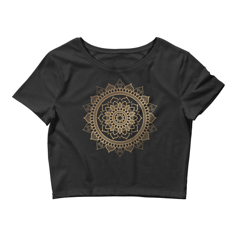Floral Unfolding (Golden Mandala) - Women's Crop Tee