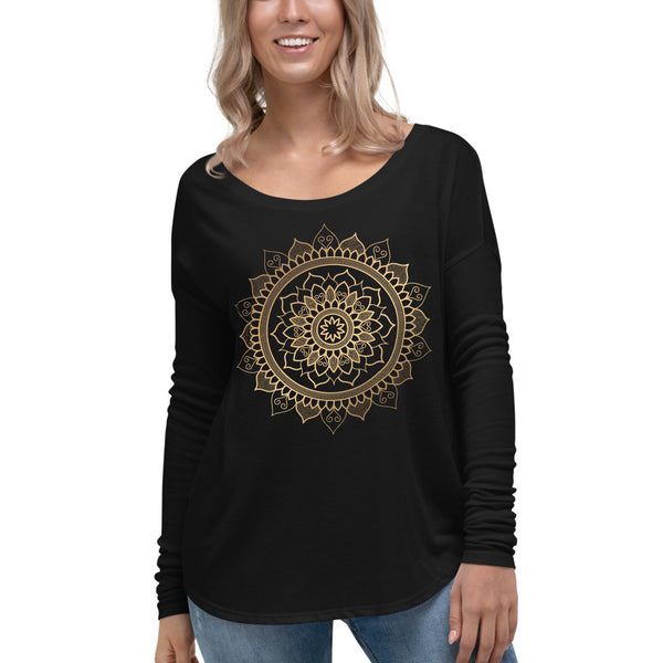 Floral Unfolding (Golden Mandala) - Ladies' Long Sleeve Tee