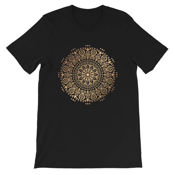 Synergistic Flow (Golden Mandala) - Short-Sleeve Unisex T-Shirt
