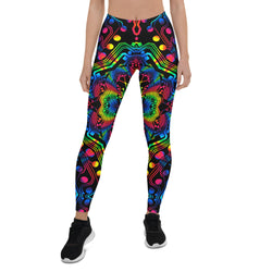 Rainbow Motherboard Mandala Leggings