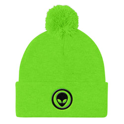 Alien Clothing - Alien Emblem Beanie - Pom Pom Knit Cap - Alien Symbology