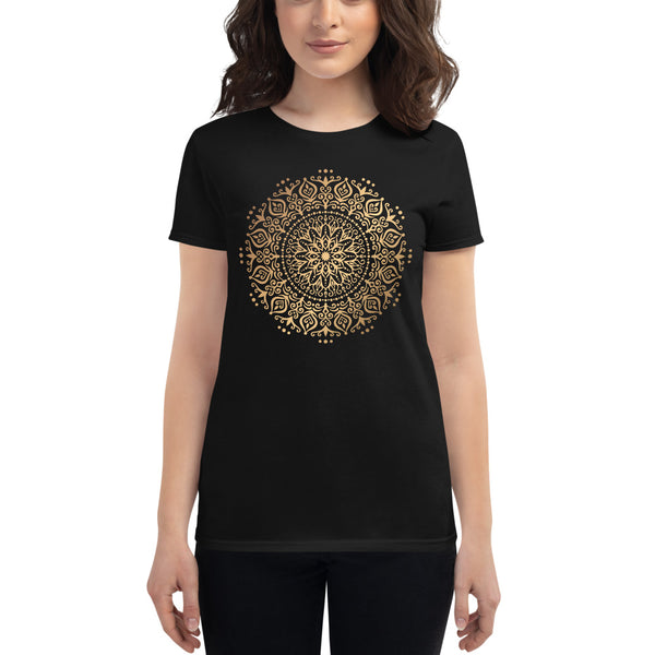 Synergistic Flow (Golden Mandala) - Women's short sleeve t-shirt