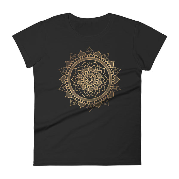Floral Unfolding (Golden Mandala) - Women's short sleeve t-shirt