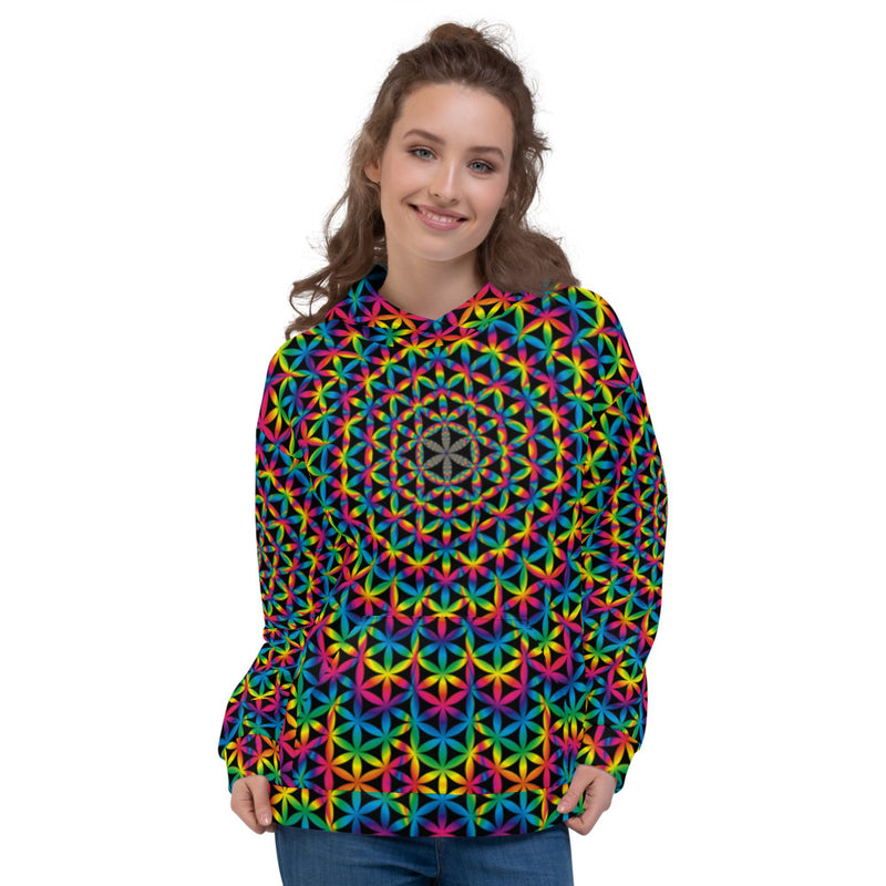 Psychotropic Flower Of Life - Rainbow Unisex Hoodie