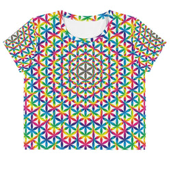 Rainbow Flower Of Life All-Over Print Crop Tee