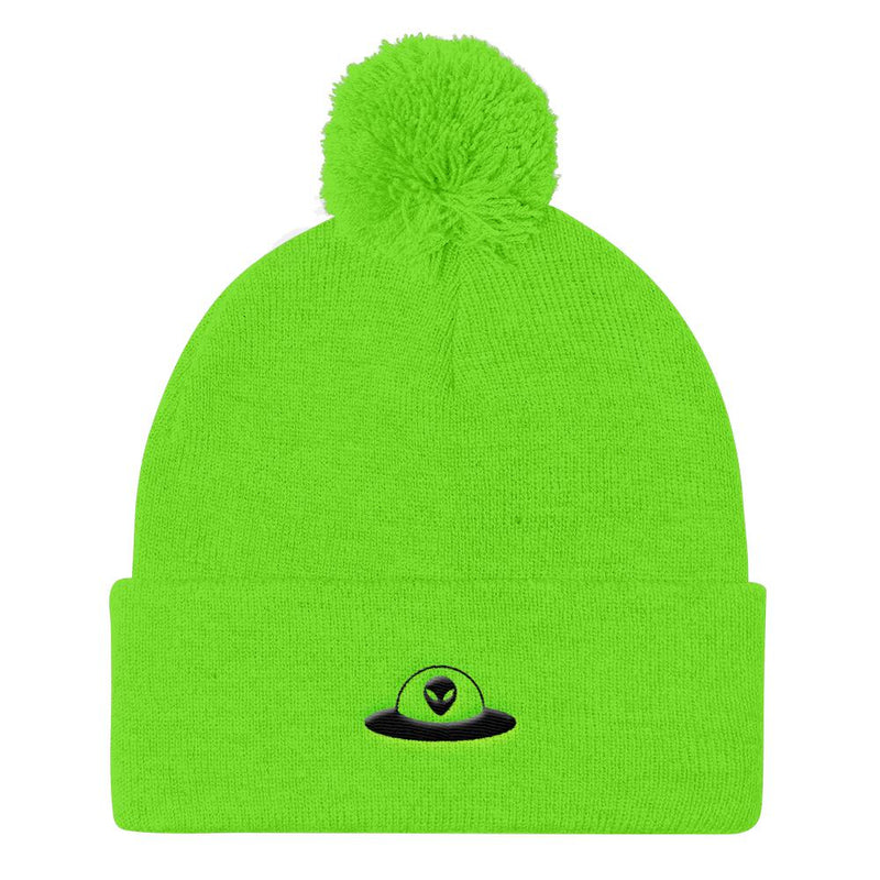 Alien Clothing - Flying Saucer Alien Beanie - Pom Pom Knit Cap - Alien Symbology
