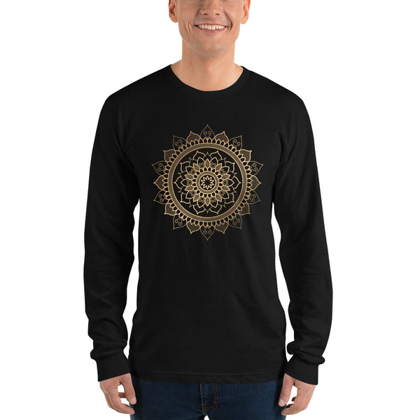 Floral Unfolding (Golden Mandala) - Long sleeve t-shirt