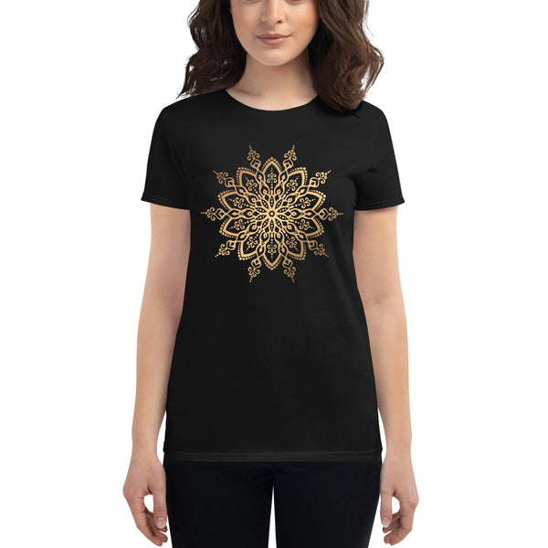 Cosmic Snowflake (Golden Mandala) - Women's short sleeve t-shirt