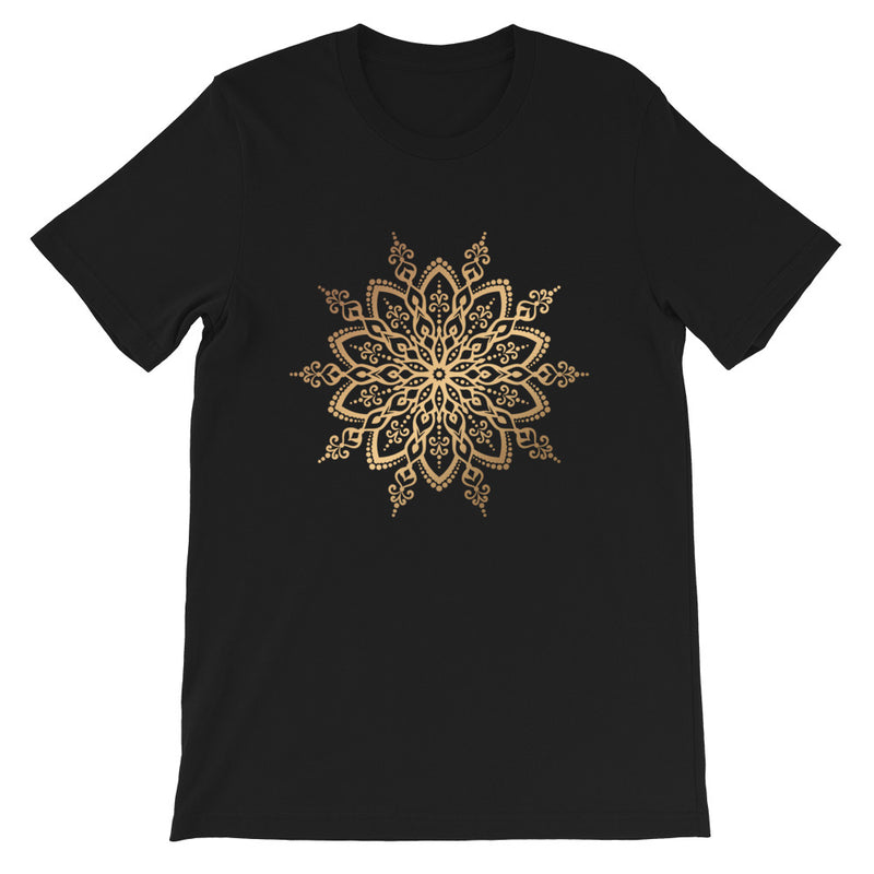 Cosmic Snowflake (Golden Mandala) - Short-Sleeve Unisex T-Shirt