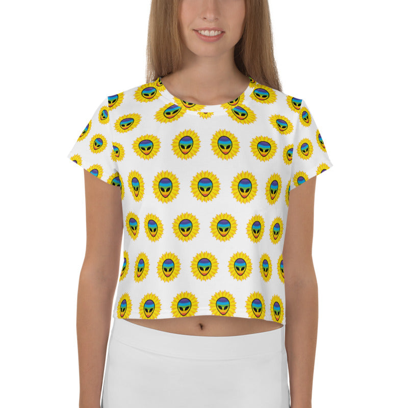 Sunflower Rainbow Alien All-Over Print Crop Tee