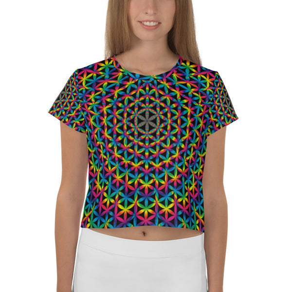 Flower Of Life All-Over Print Crop Tee