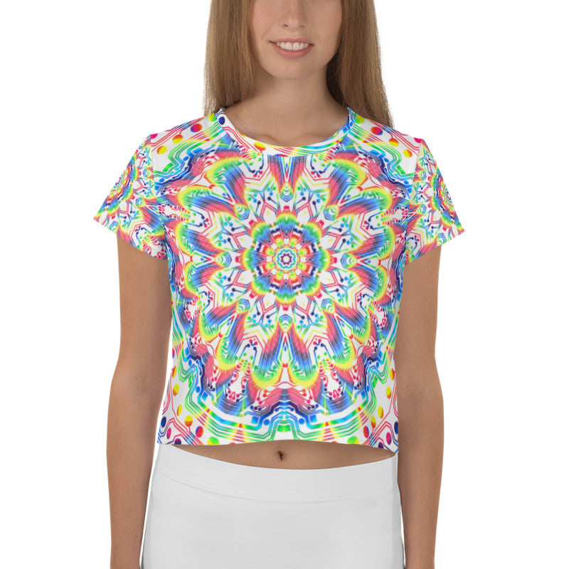 Kaliedascopic All-Over Print Crop Tee
