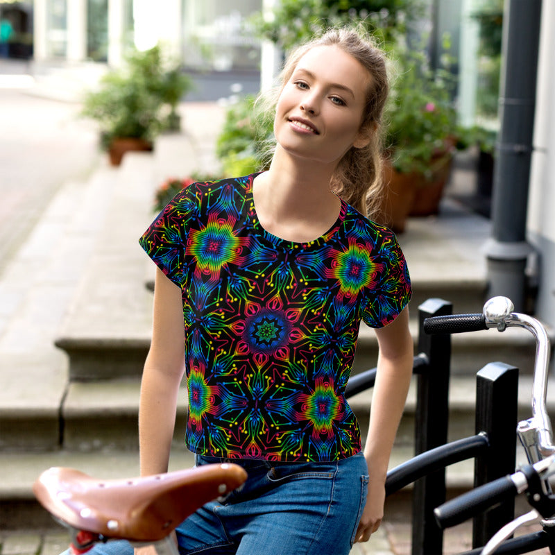 Electric Star Mandala All-Over Print Crop Tee