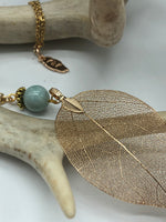 Load image into Gallery viewer, Real Leaf Necklace in Gold with Blue Amazonite Stone