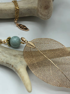 Real Leaf Necklace in Gold with Blue Amazonite Stone