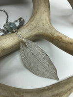 Load image into Gallery viewer, Real Leaf Necklace in Silver with Blue Amazonite Stone
