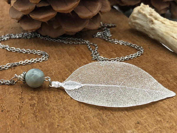 Real Leaf Necklace in Silver with Blue Amazonite Stone