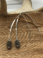 Load image into Gallery viewer, Pinecone Drop Earrings - Silver