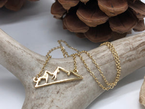 Silhouette Mountain Necklace - Gold