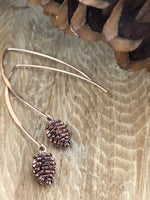 Load image into Gallery viewer, Pinecone Drop Earrings - Rose Gold