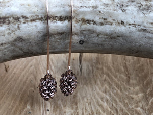Pinecone Drop Earrings - Rose Gold
