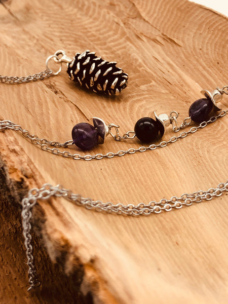 Silver Pinecone Pendant Necklace (5 Stone Options Available)