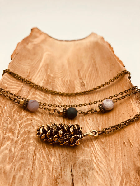 Bronze Pinecone Pendant Necklace - Jasper