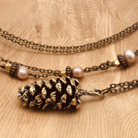 Bronze Pinecone Pendant Necklace - Pink Pearls