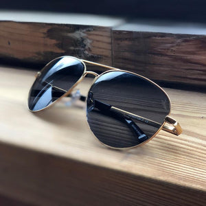Titanium Aviator Sunglasses & 24K Gold Plated