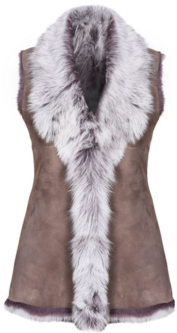 Taupe Ladies Women's Soft Real Toscana Sheepskin Leather Gilet Waistcoat