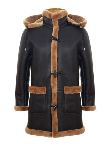 Men's New Winter Sheepskin Leather Ginger Hooded Duffle Coat