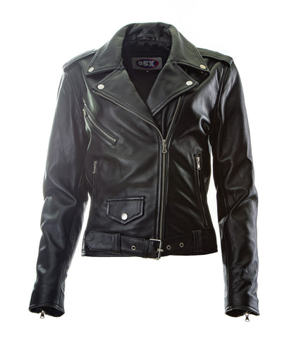 Brando Biker Sheep nappa Leather Jacket (Perfecto) in women's fit.113L-Na