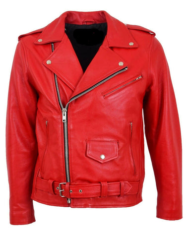 Classic Brando Biker Red Cowhide Leather Jacket 113