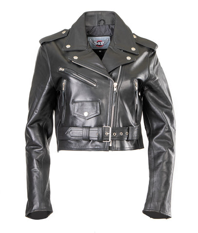 Short Cropped Biker Leather Jacket for Women Rebel 114
