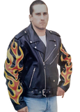 Brando Biker Leather Jacket With Side Lace Flame Cut-Work on arm115