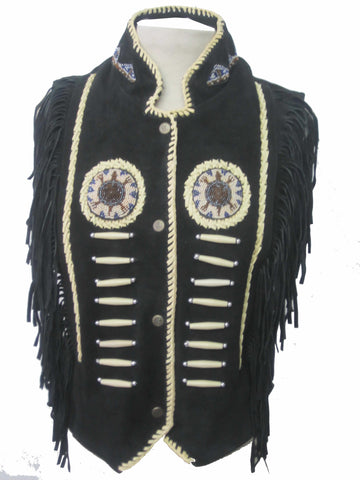 Indian Western Fringe Beaded  Leather Vest 146