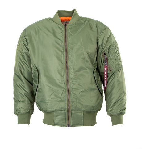 MA1 flight pilot jacket in nylon water resistant material. Olive Green1520-F