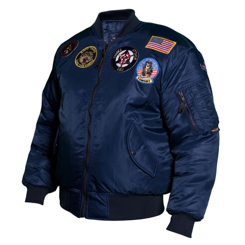 Classic USA Nylon Pilot Bomber Jacket with badges Blue/black - MAI 1521F