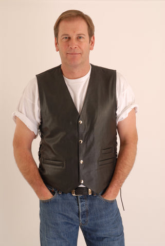 DALLAS WAIST COAT WITH SIDE LACE MOTORCYCLE/BIKER VEST IN COWHIDE LEATHER 205