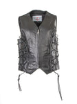Lucifer Ladies vest with lace feature on the side and zip fastening front 219