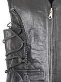 Men Leather Wascoat With Laces & Brading 219-M