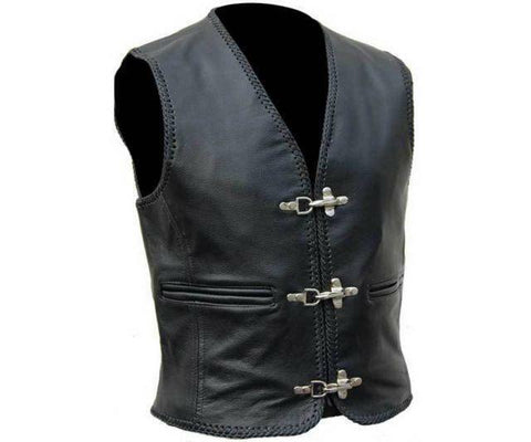 Cow Split Hide Leather Biker Studded Buckle Wastcoat 224-SL