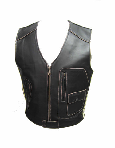 Biker Vest Antique with Stripe in Cowhide Waistcoat 225 ST