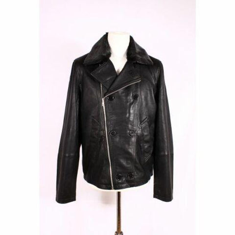 Real Cow waxy Leather Pea coat 3/4 Jacket Front Pockets 3004