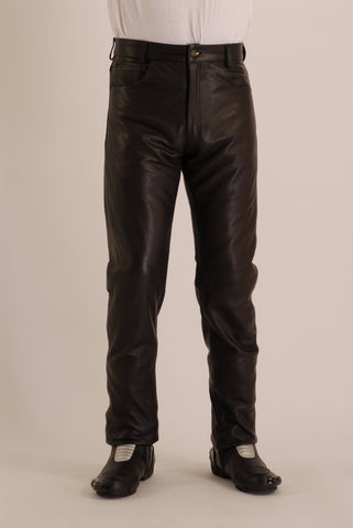 Plain Leather jean in cowhide leather Biker Fashion Style 301 (Martin)