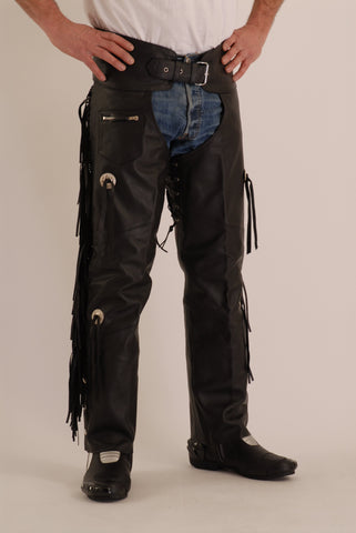 Leather Motorcycle Chaps with fringes and concho  Soho 321