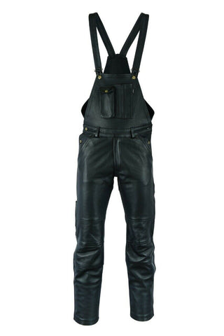 MOTORCYCLE WAXY COWHIDE ANILINE LEATHER BIB AND BRACE DUNGAREE 325