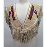 SHAWNEE SUDE PONCHO TOP Indian Western Fringe Beaded Leather ER223