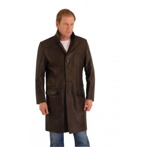 Leather Crombie Coat Knee 3/4 Length - Daltry A029